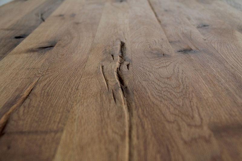 Masa Hudson blat stejar masiv picior metalic